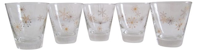 Gold Snowflake Cocktail Glasses, S/5