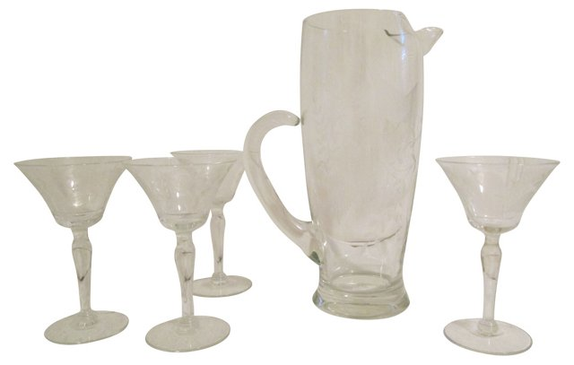Crystal Pitcher w/ 4 Cocktail Glasses