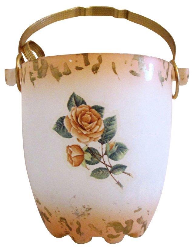 Rose Murano Glass Ice Bucket & Tongs