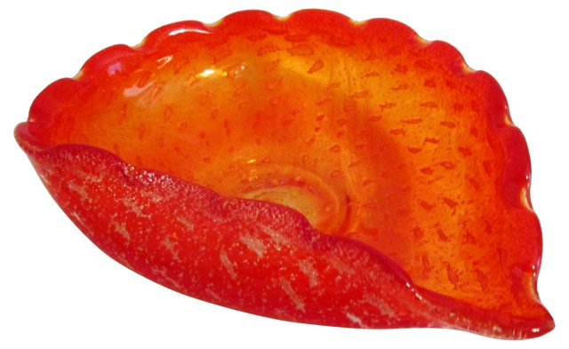 Flame Red Murano Glass Bowl