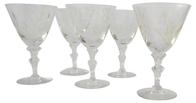 Tiffin Etched Crystal Goblets, S/5