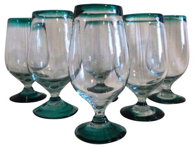 Jade-Green Blown Glass Goblets, S/6