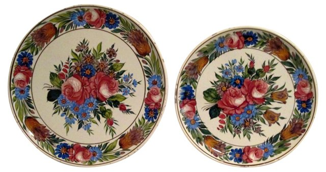 Folk Art Hungarian Wall Plates, Pair