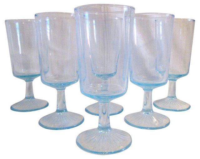 Powder Blue Footed Tumblers, S/6
