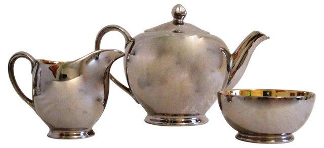 English Silver Luster Tea Set, 3 Pcs
