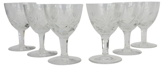 Cut-Crystal Wine Glasses, S/6