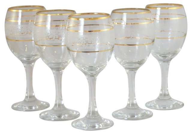 Gold-Accented Wine Glasses, S/5