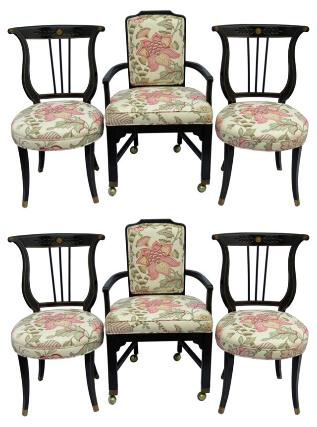 Regency-Style Dining Chairs, S/6