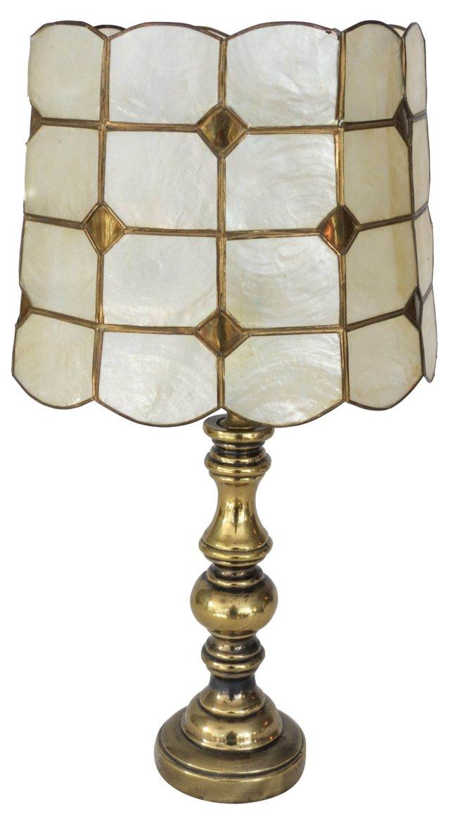 Brass Lamp & Capiz Shade