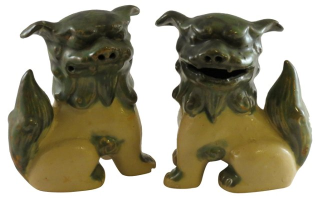 Green Foo  Dogs, Pair