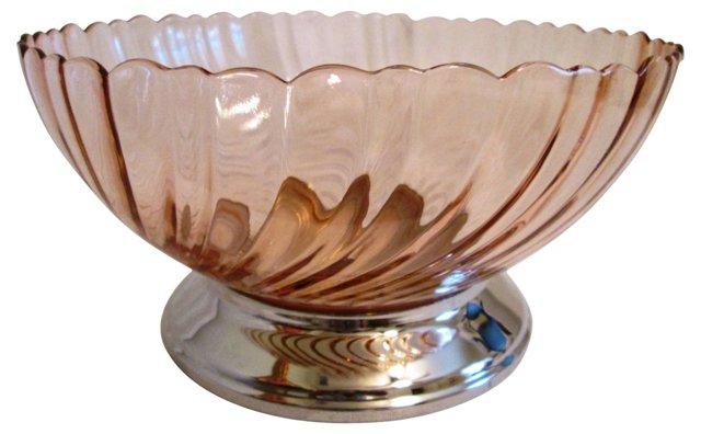 French Rose Glass Swirl Bowl