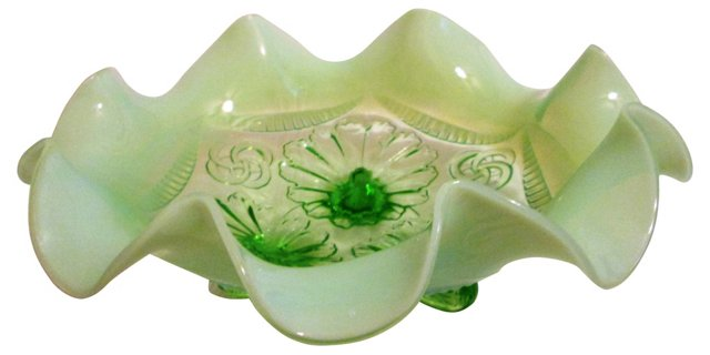 Green Opalescent Ruffled Footed Bowl