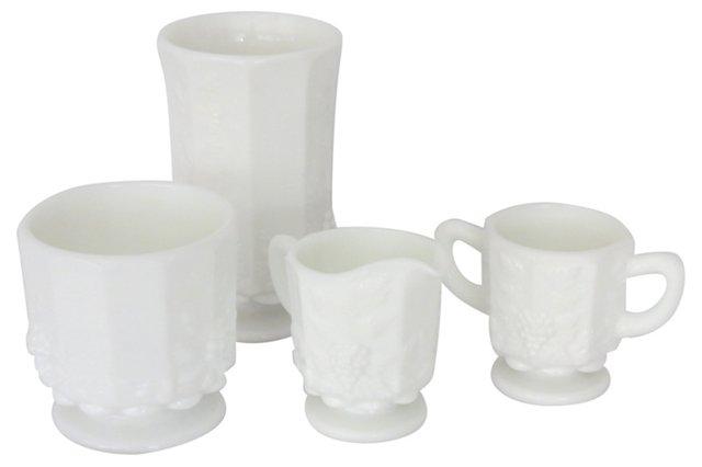 Westmoreland Milk Glass Set, 4 Pcs