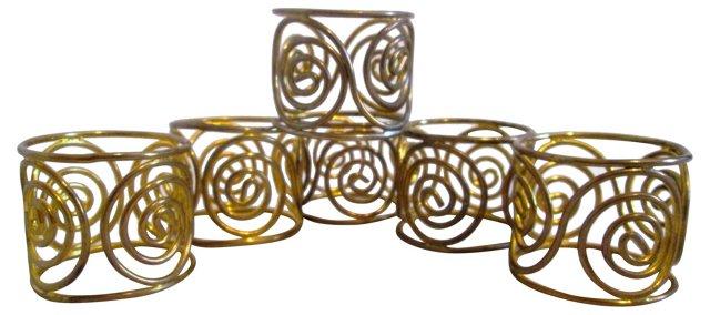 Brass Plated Swirl Napkin Rings, S/6