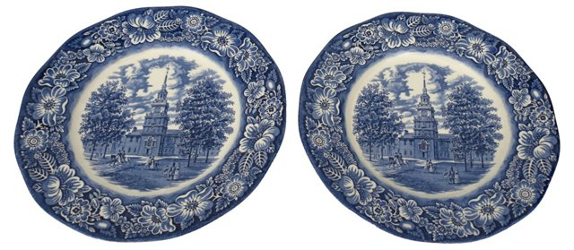 Liberty Blue Ironstone Wall Plates, Pair