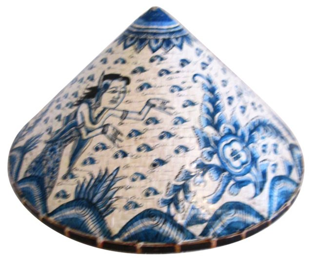 Asian Blue & White Peasant Hat