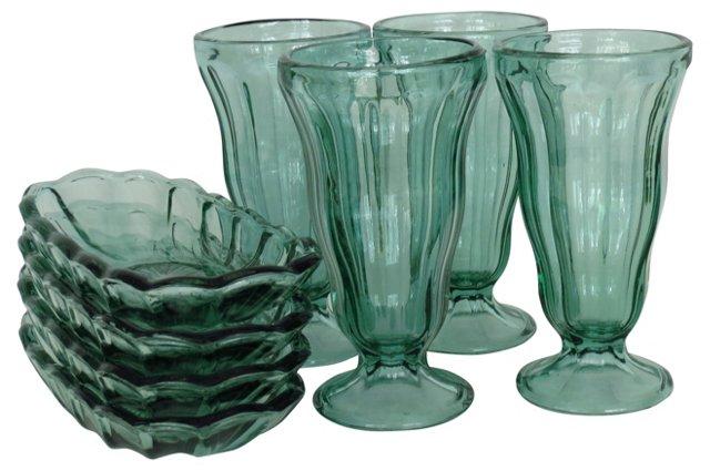 Green Glass Dessert Set, 8 Pcs