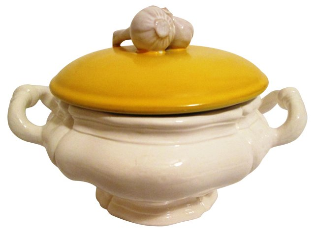 Italian Garlic Topped Ceramic Tureen
