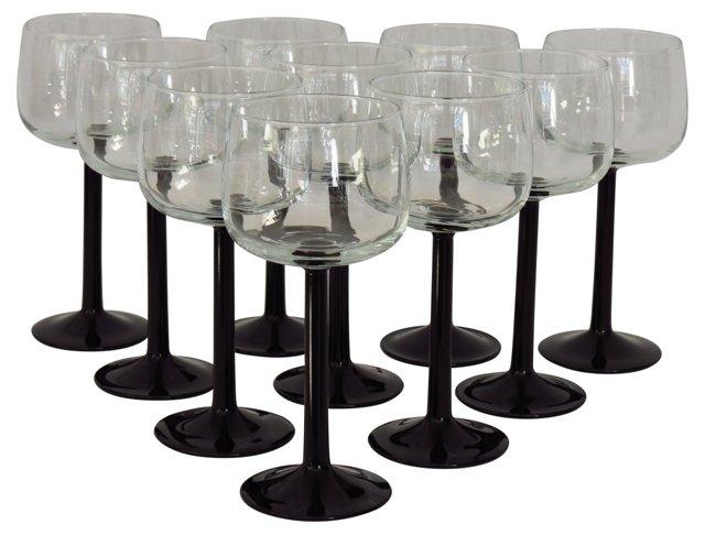 Onyx-Stemmed Wine Goblets, S/10
