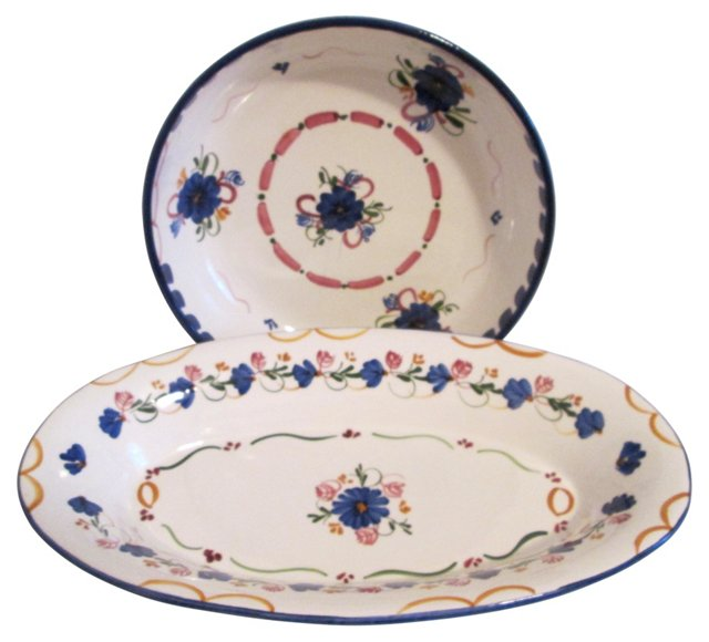 Spanish Blue Floral Serving Bowls, Pair