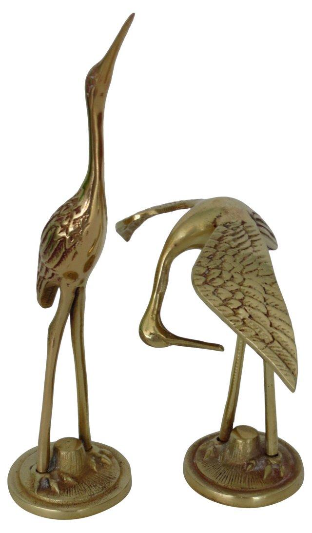 Petite Brass Cranes, Pair
