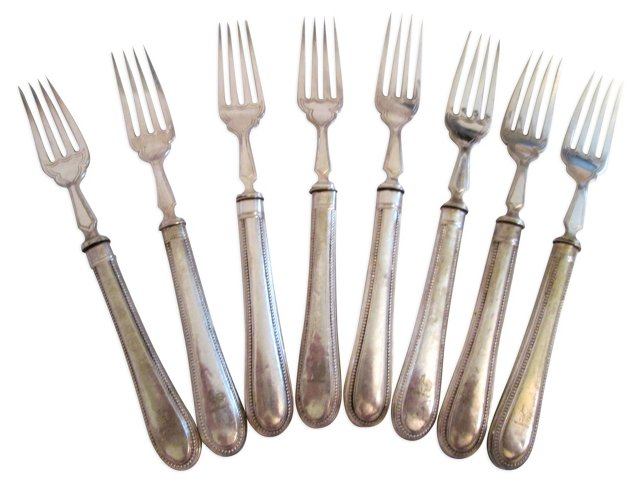 19th-C. Forks w/ Rooster Motif, S/8