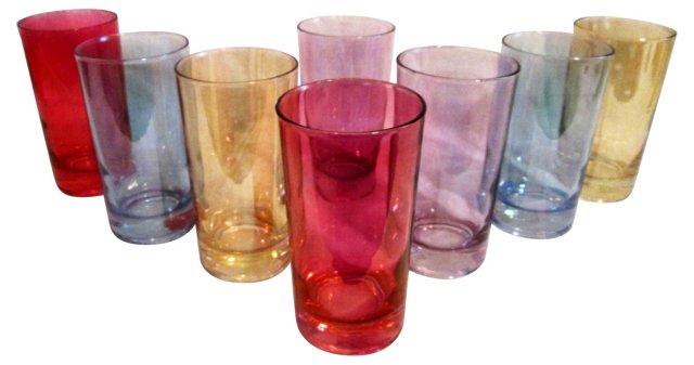 Italian Flash Glass Tumblers, S/8