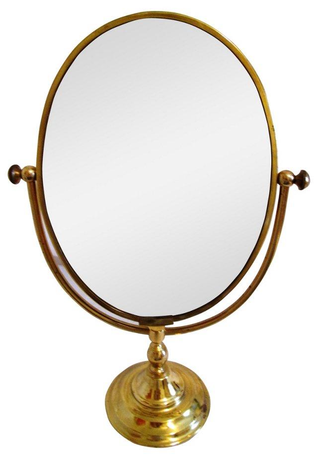 Brass Pedestal Swivel Vanity Mirror