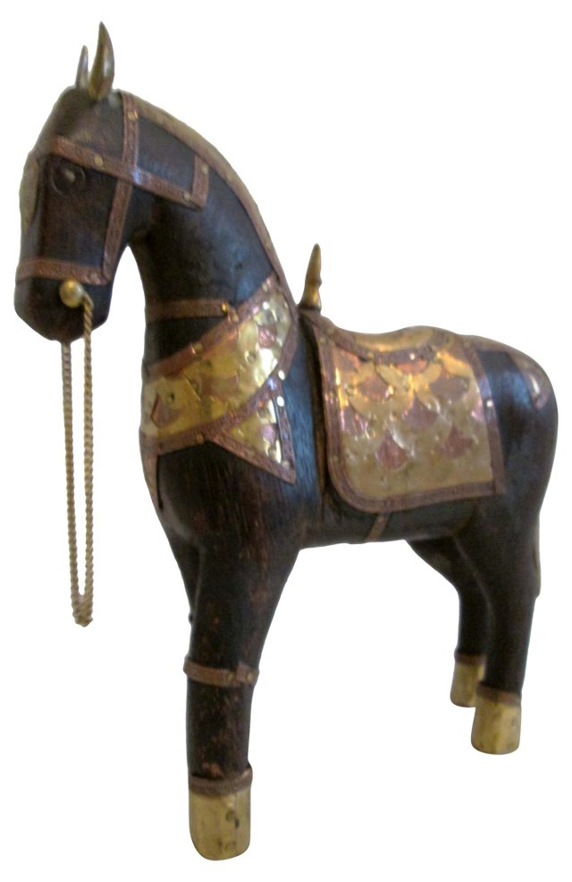 Wood, Brass & Copper Tang-Style Horse