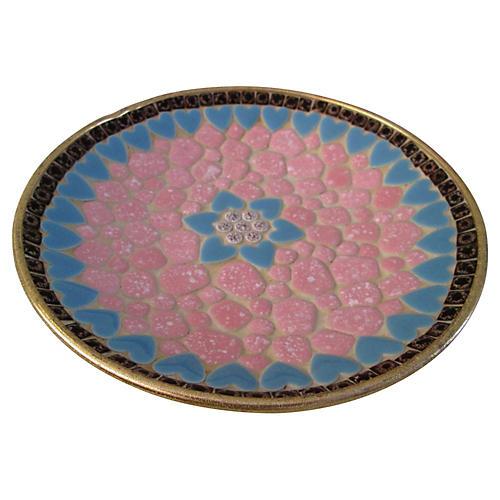 Midcentury Mosaic Pink Tile Shallow Bowl