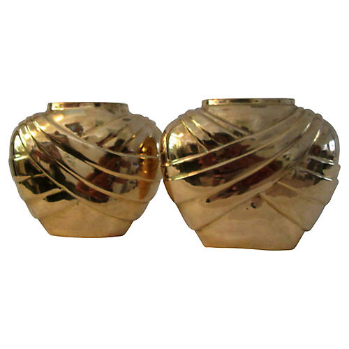 Indian Polished Brass Draped Vases, Pair