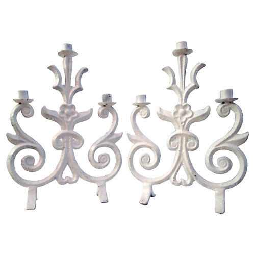 White Wrought Iron Candelabra, Pair