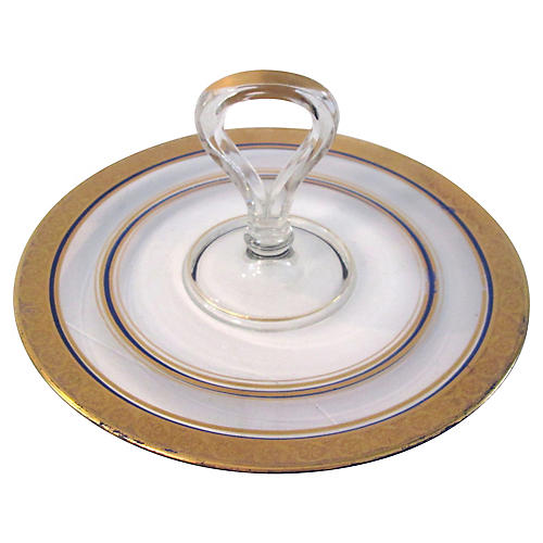 Gold & Navy Blue Glass Tidbit Plate
