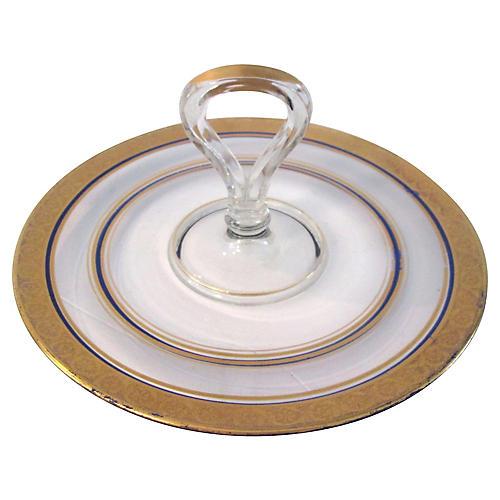 Gold & Navy Blue Glass Tidbit Plate