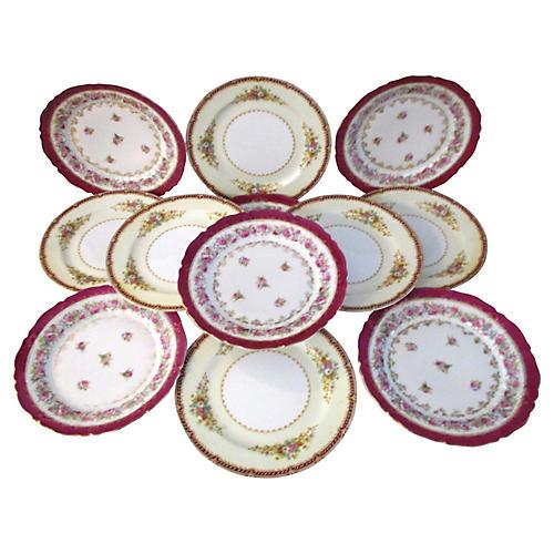 Rose Dessert Plates, S/12