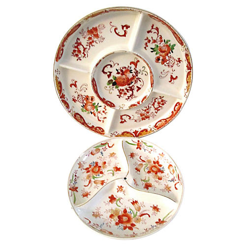 Japanese Floral Divided Dishes, S/2