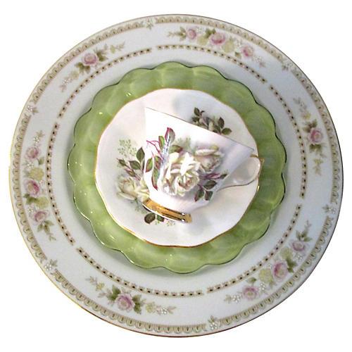 White Roses Dinner Set, 4 Pcs