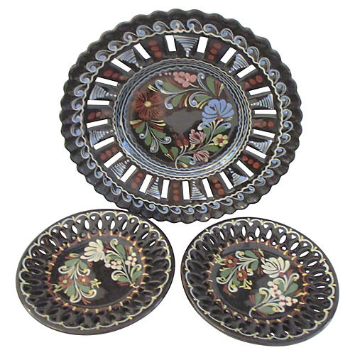 Hungarian Pottery Hanging Plates, S/3