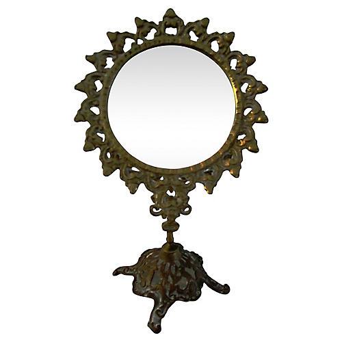 Midcentury Rococo Brass Vanity Mirror