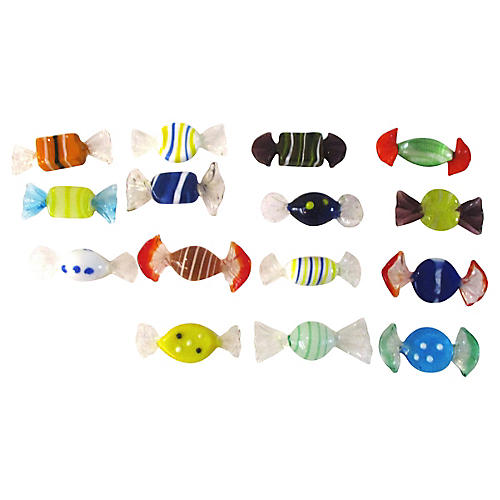 Murano Blown Glass Candy Pieces, 15 Pcs