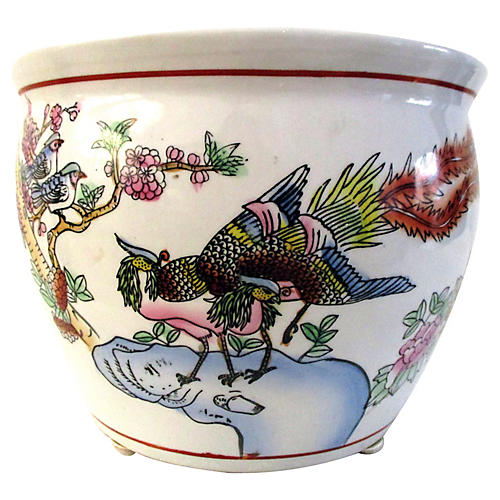 Chinese Pheasants Porcelain Jardinière