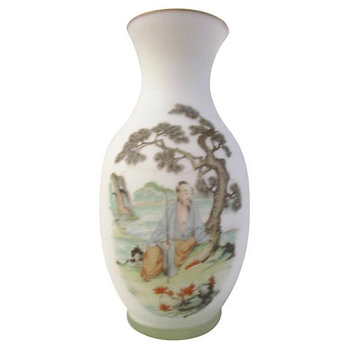 Norleans Asian Satin Frosted Glass Vase