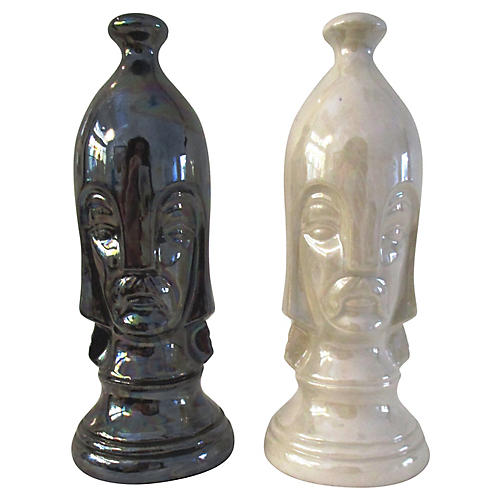 1960s Duncan Pawn Chess Pieces, Pair