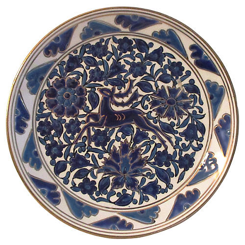 Greek Blue Floral Gazelle Display Plate