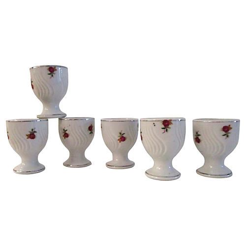Porcelain Cottage Rose Egg Cups, S/6