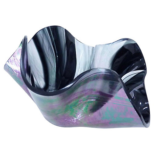 Iridescent Art Glass Envelope Bowl