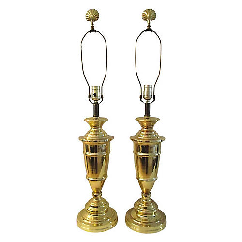 1980s Brass Plated Trophy Lamps, Pair