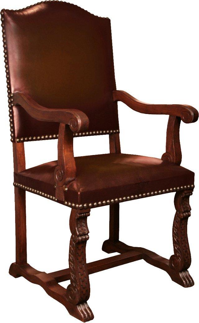 Renaissance-Style Oak Armchair