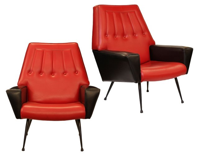 Italian Modernist Armchairs, Pair