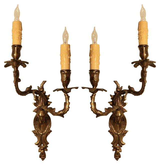 French Régence  Bronze Sconces, Pair